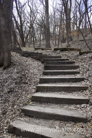Stairs at Stone State Park in Iowa.