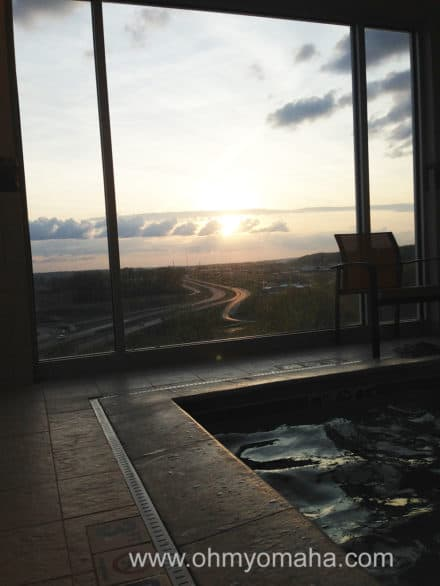 Sunset view from the hotel's small whirlpool. I'll take it after a full day of walking around Worlds of Fun.