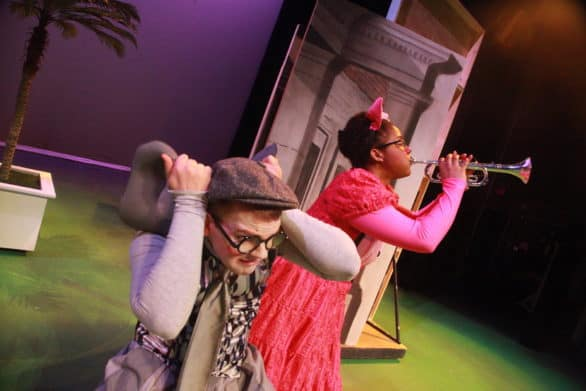 "Will Nash Broyles as Gerald the Elephant and Olivia Jones as Piggie in The Rose Theater's production of ""Elephant and Piggie's We Are In A Play: The Musical."" Photo by MBJ Photography"