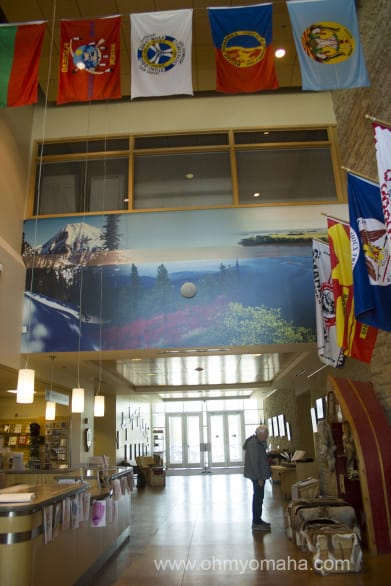 The Lewis & Clark Trail Headquarters Visitors Center in Omaha is contained to a lobby.
