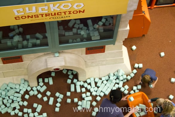 Foam bricks fall every 15 minutes from the Cuckoo Construction tower.