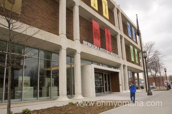 "The Nebraska History Museum exterior was freshened up just as the interior was. ""Inside Out"" is the name of the artwork on the walls, showing pedestrian and passing cars a hint of what's inside."