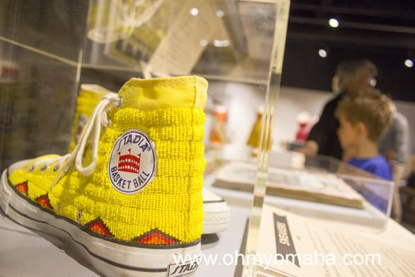Beaded sneakers at the Nebraska History Museum.