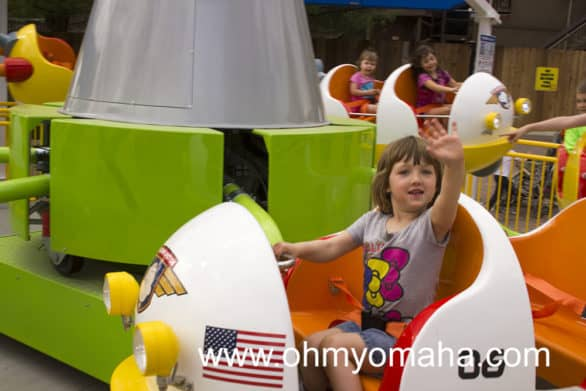 My 4-year-old testing out one of the new rides at Worlds of Fun, Snoopy's Space Buggies.