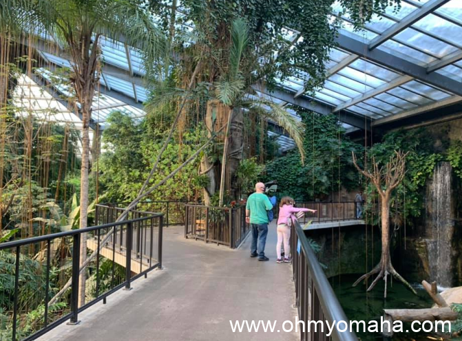 A family walks on the upper level of the indoor rainforest in Omaha