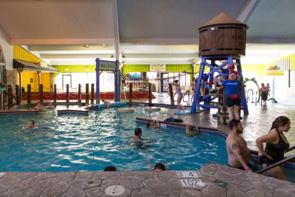 There are two pool areas at the Wasserbahn Waterpark, plus a hot tub that children are no allowed in.