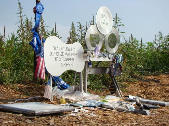 The crash site memorial to Buddy Holly, Ritchie Valens and The Big Bopper in Clear Lake, Iowa. Photo courtesy Clear Lake Chamber of Commerce