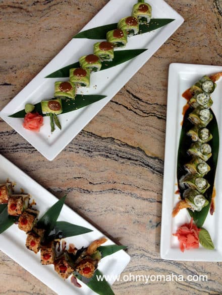 I tried three sushi rolls at Crave recently: Veggie sushi, Bamboo Bite, and Electric Dragon. The favorite? It's close between the Bamboo Bite and Electric Dragon. Both have a kick to them - the Bamboo Bite is topped with a jalapeno slice, the other has some sriracha in it.