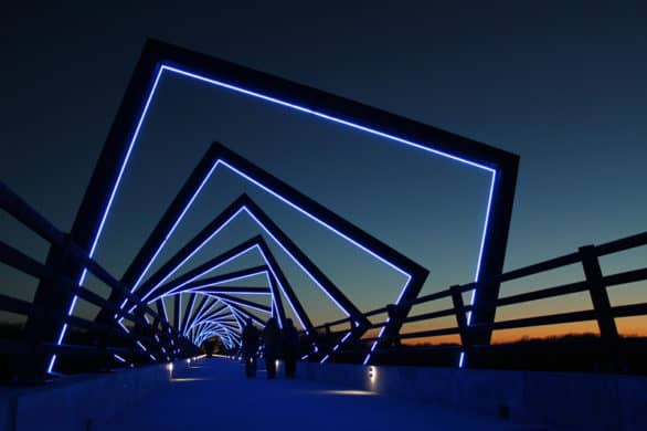 The High Trestle Bridge at night in Des Moines.