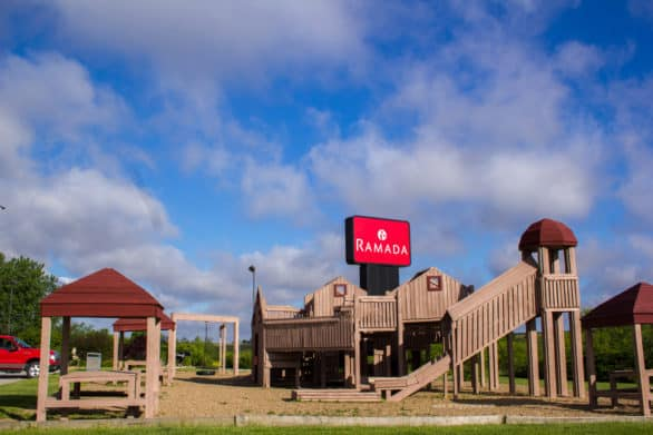 The wooden playground at the Ramada in Williamsburg, Iowa.