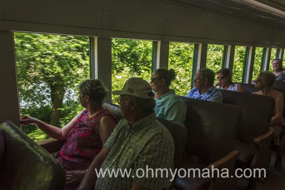 Even on a weekday, the Boone & Scenic Valley Railroad cars can be crowded. It was for us on a Tuesday afternoon.