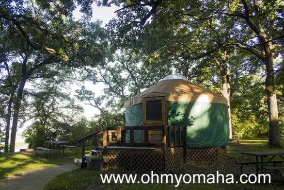 A yurt is more tent than cabin. The yurts in Clear Lake, Iowa come with beds and a table.