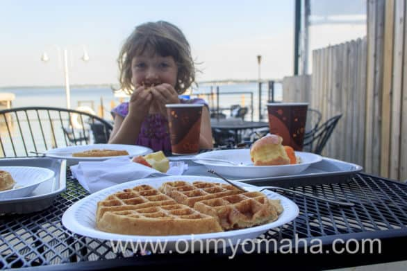 Waffles for breakfast lakeside.