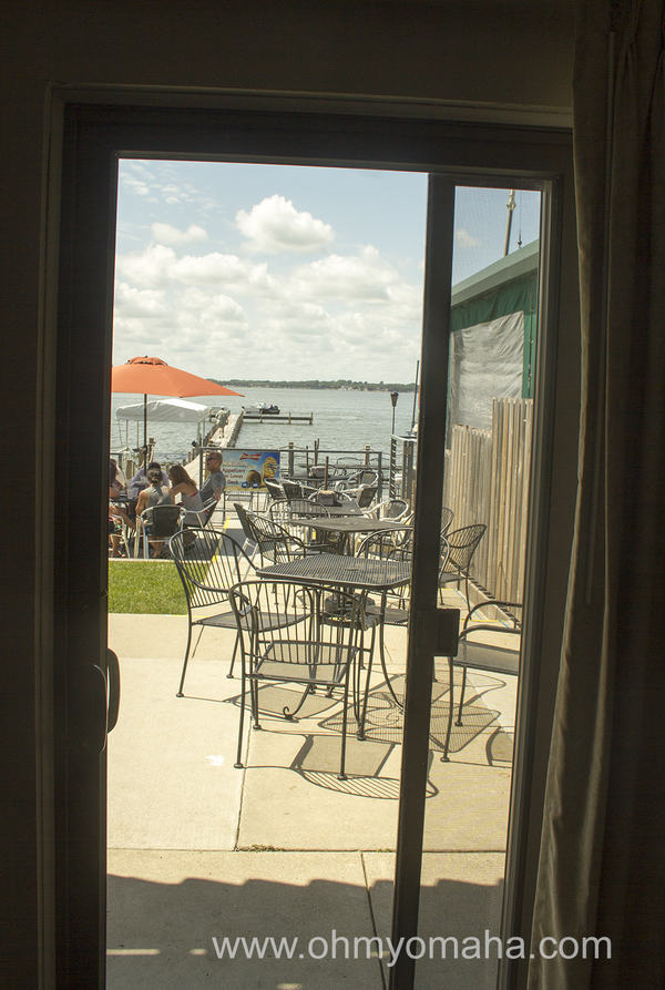 View of the patio from a hotel room at South Shore Inn in Clear Lake, Iowa