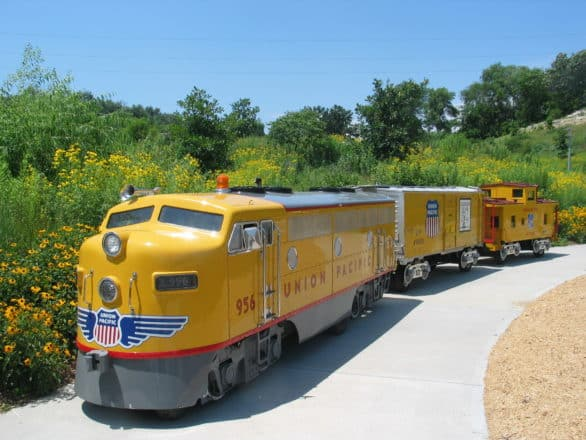 The mini UP train will have free rides for children at Lauritzen Garden. Photo courtesy Lauritzen Gardens