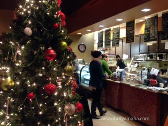 The festively decorated interior of Delice, a European bakery in the heart of MIdtown Crossing.