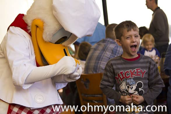 Meeting Donald Duck during Chef Mickey's character breakfast