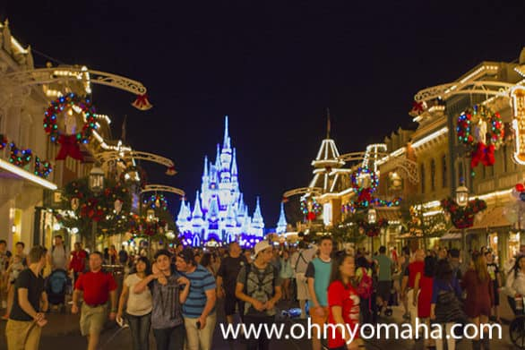 Disney World Main Street decorated for Christmas