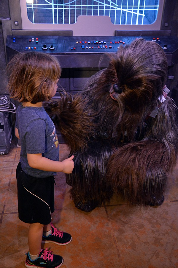 Girl meeting to Chewie at Hollywood Studios