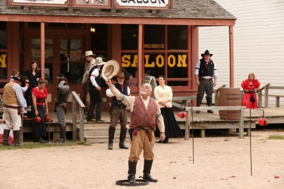 Old Cowtown actor in front of the saloon. Old Cowtown is in Wichita.