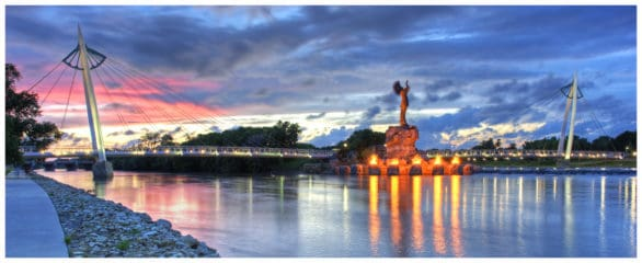 Keeper of the Plains statute at dusk in Wichita
