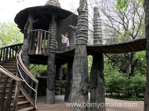 A tree house inside the children's garden at Botanica Wichita