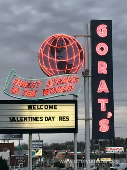 Neon sign in front of Gorat's, one of Omaha's oldest steakhouses.