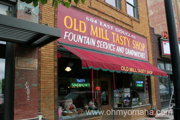 Exterior of Old Mill Tasty Shop in downtown Wichita, which is a working soda fountain