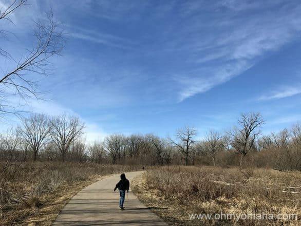 Paved trail near Western Historic Trails Center in Council Bluffs, Iowa