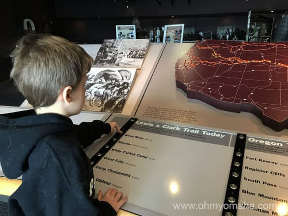 Interactive map exhibit at Western Historic Trails Center in Iowa