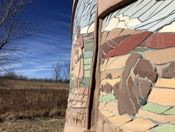 Outdoor sculpture near Western Historic Trails Center in Iowa