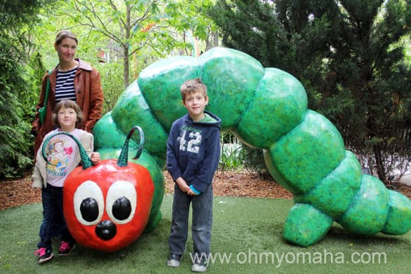The Hungry Caterpillar sculpture in the children's garden at Botanica Wichita