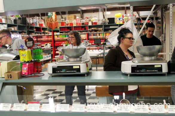 A bulk foods counter inside Nifty Nut House in Wichita, Kansas