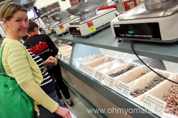 Chocolate-covered nuts counter at Nifty Nut House in Wichita Kansas