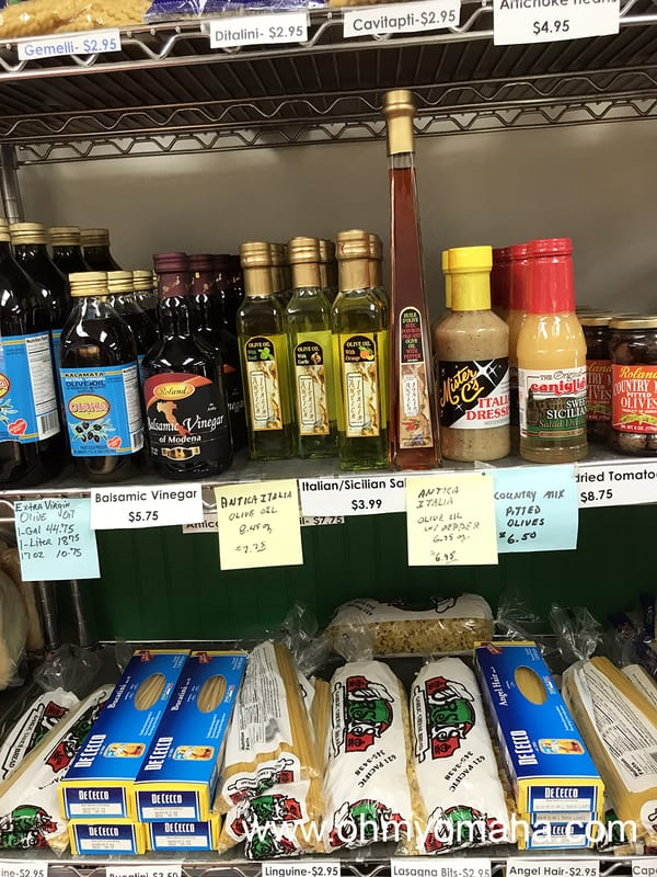 One of the grocery shelves inside Orsi's Italian Bakery & Pizzeria in Omaha