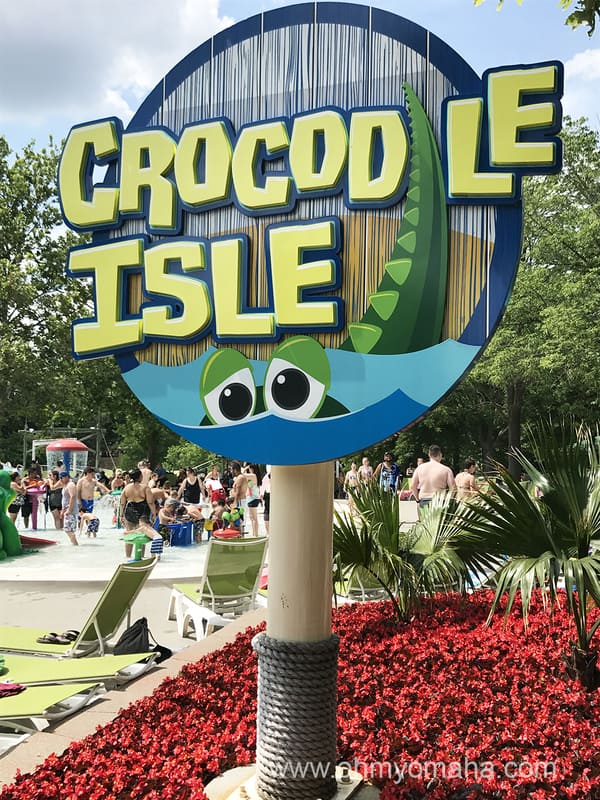Sign to Crocodile Isle, an area for younger kids at Oceans of Fun in Missouri