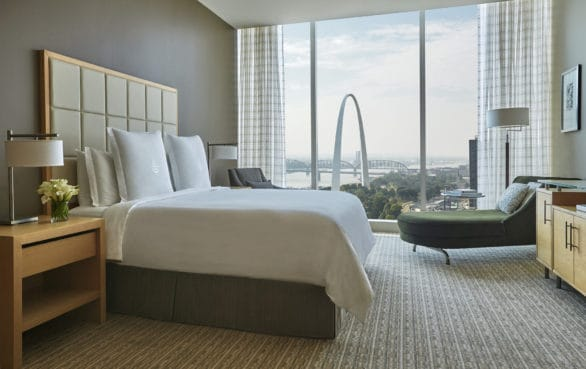 A view of The Arch from a room at the Four Seasons Hotel in St. Louis