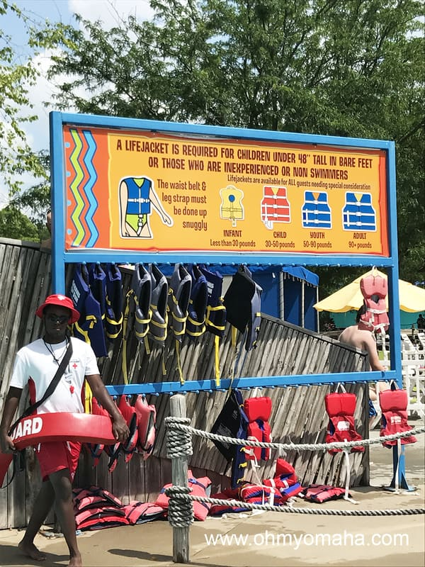 Life jacket station at Oceans of Fun