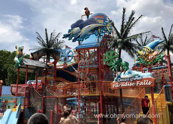 Paradise Falls splash park at Oceans of Fun in Kansas City, Missouri