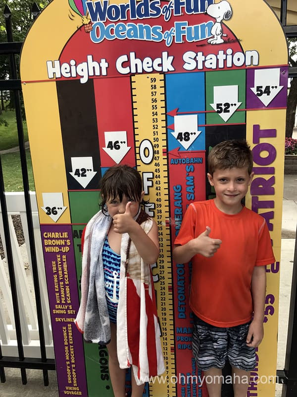 The height check station for rides at Oceans of Fun