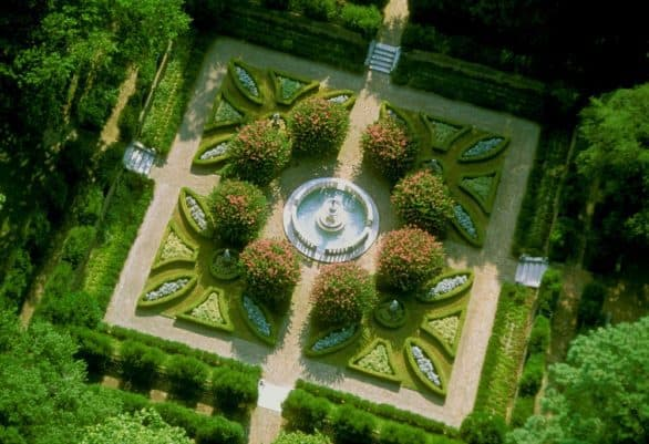 Overhead view of Elizabethan Gardens in the Outer Banks of North Carolina