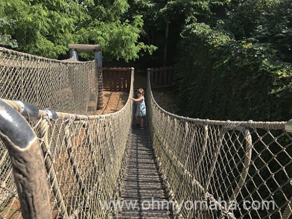 Rope bridge at the children's garden in Missouri Botanical Garden in St. Louis