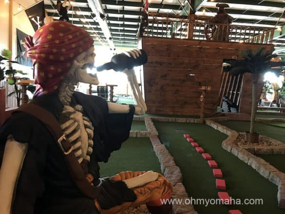 Pirate Putt, an indoor mini golf center with a pirate theme in Council Bluffs, Iowa