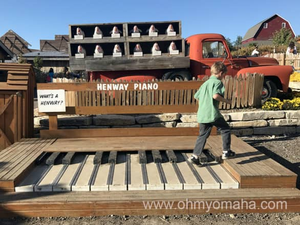 Oversized chicken piano at Vala's Pumpkin Patch in Nebraska