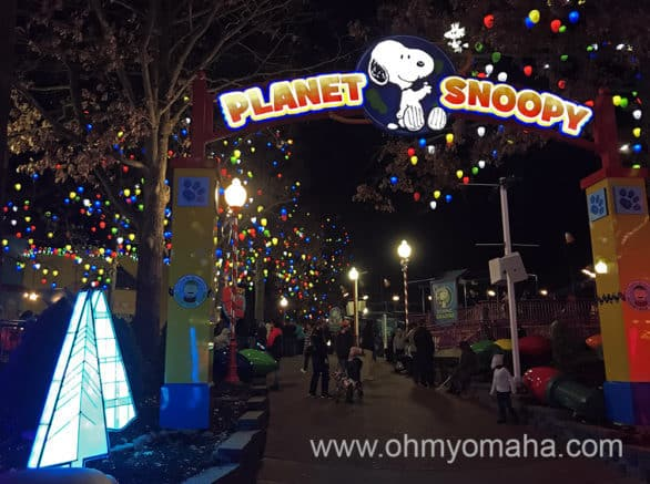 Holiday lights at Planet Snoopy inside Worlds of Fun