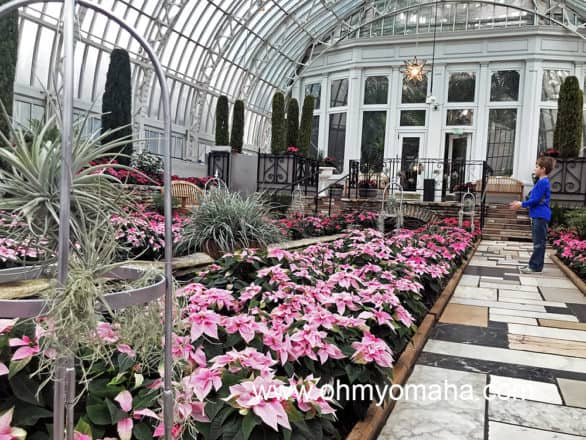 The Holiday Flower Show is free to visit inside the Marjorie McNeely Conservatory.