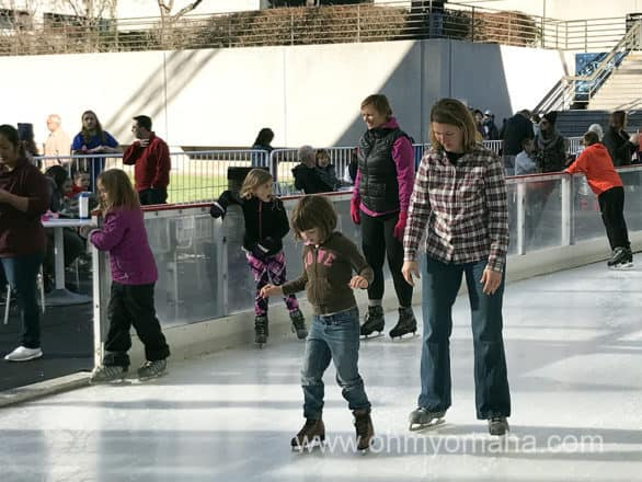 Ice skating at the Ice Terrace in downtown Kansas City