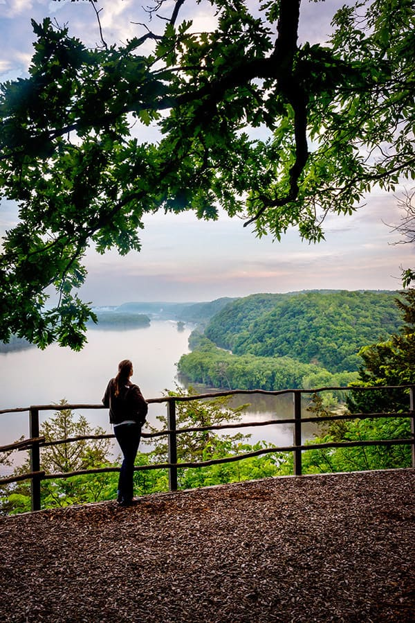 The view of the Mississippi River at Effigy Mounds, a national monument in eastern Iowa
