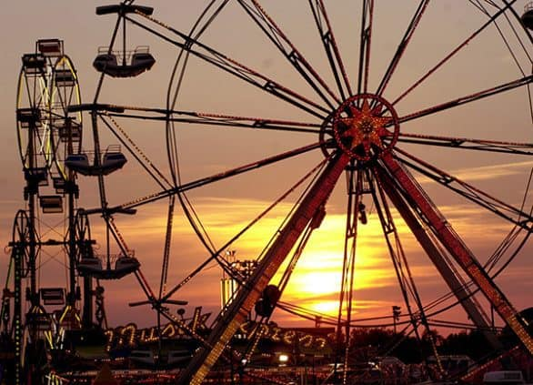 Iowa State Fair rides at sunset