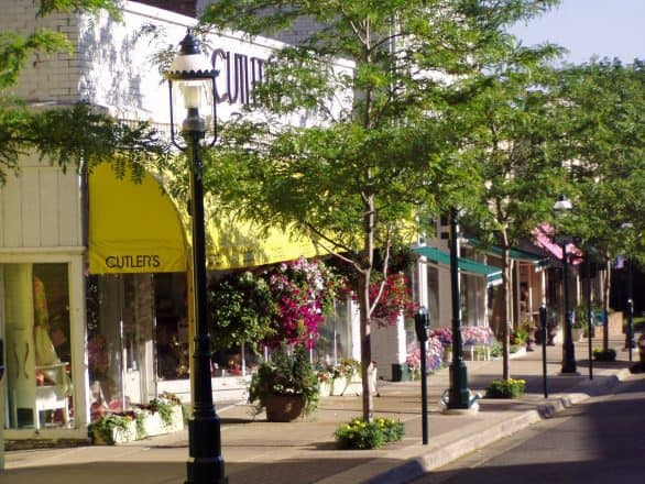 The historic Gaslight District in Petoskey, Michigan., features quaint shops and trendy restaurants, as well as one of the top independently-owned bookstores in the U.S.